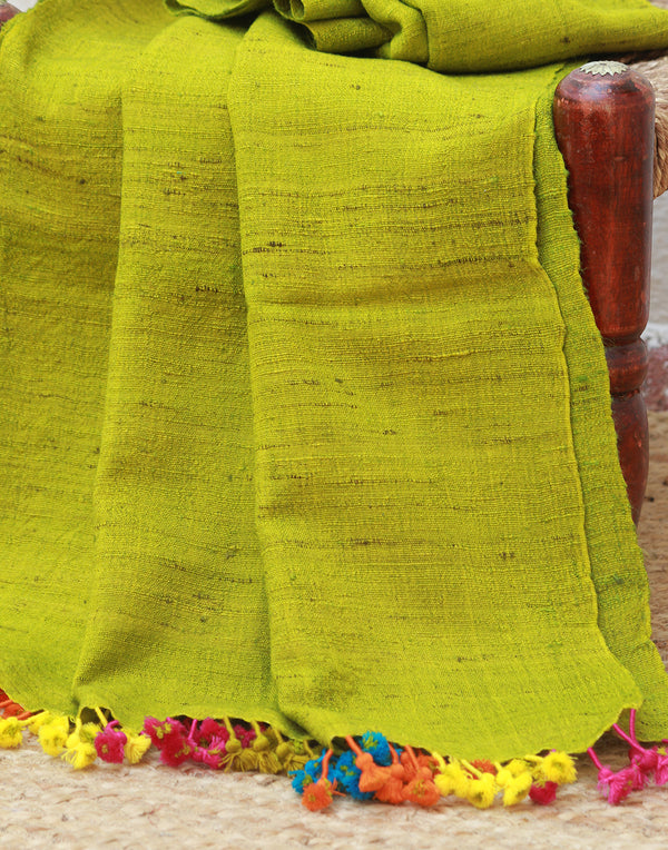 Green Wool and Silk Handwoven Stole