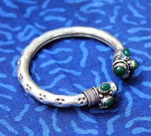 Antique Finish German Silver Adjustable Kada with Green Stones