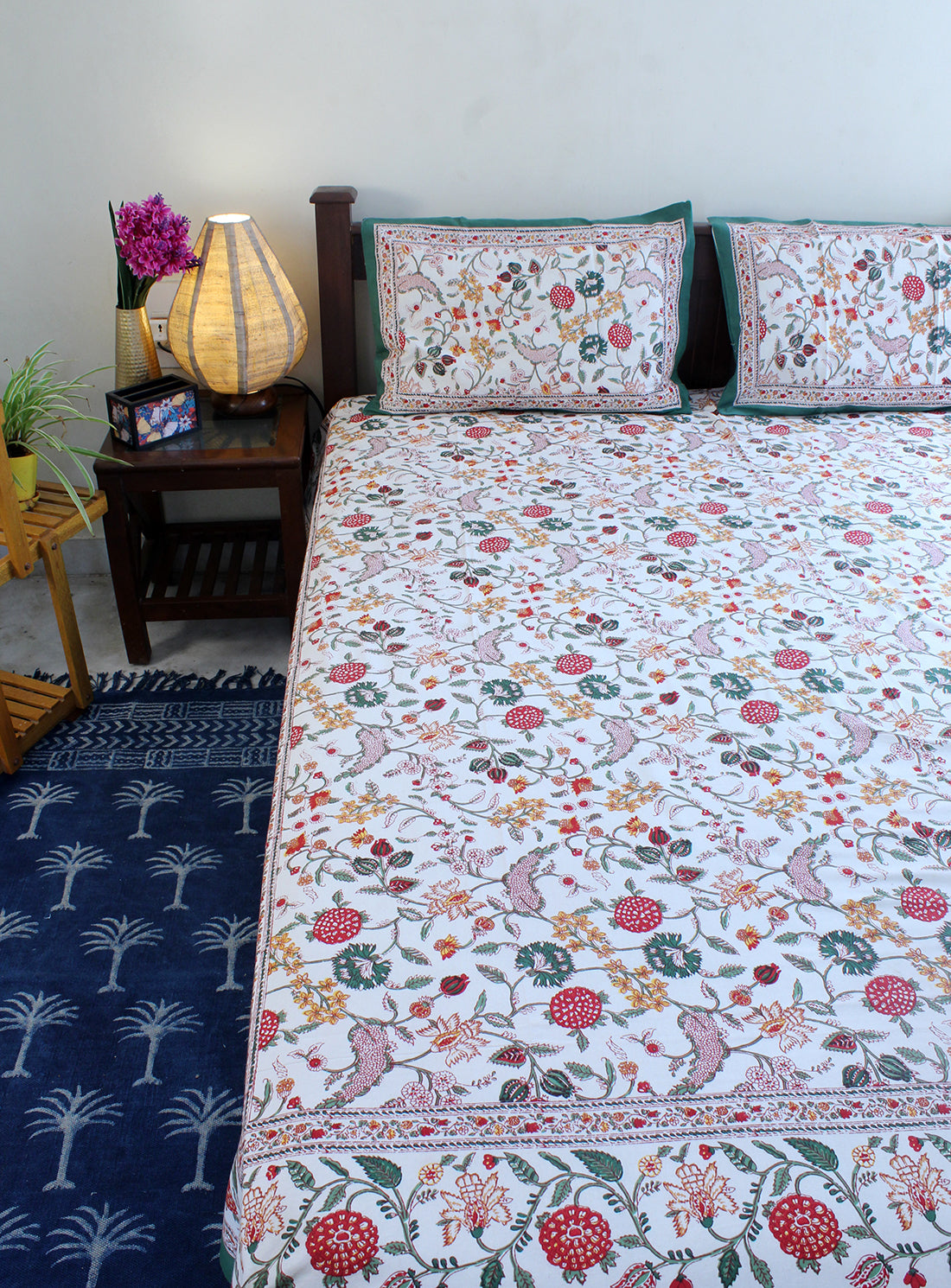 Off-White Hand Block Printed Pure Cotton King Size Bedsheet with Pillow Covers