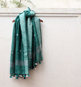 Green and Black Dual Toned Handloom Linen Jamdani Dupatta with Zari Border