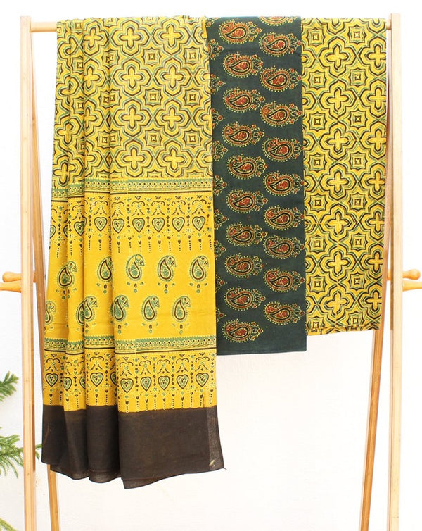 Green and Yellow Naturally Dyed Ajrakh Hand Block Printed Cotton Dress Material