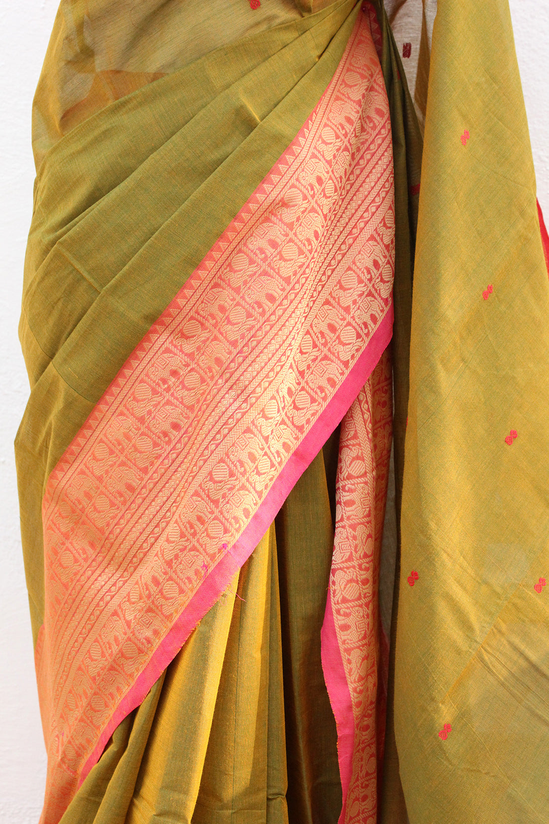 Green and Yellow Dual Toned Chettinad Cotton Saree With Pink Handloom South Cotton Blouse Piece