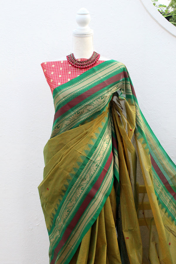 Green and Yellow Dual Toned Chettinad Cotton Saree With Red Cotton Silk Banarasi Blouse Piece