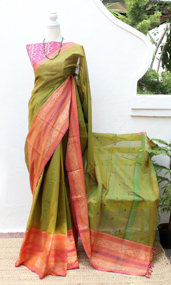 Green and Yellow Dual Toned Chettinad Cotton Saree With Pink South Cotton Digitally Printed Blouse Piece
