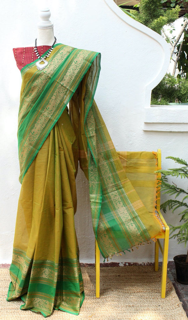 Green and Yellow Dual Toned Chettinad Cotton Saree With Red South Cotton Jacquard Blouse Piece
