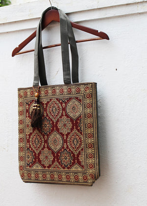 Grey Ajrakh Hand Block Printed Tote Bag