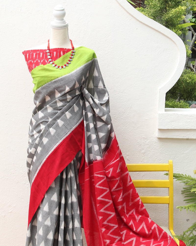 Grey Pochampally Ikkat Handloom Saree with Red Ikkat Blouse Piece