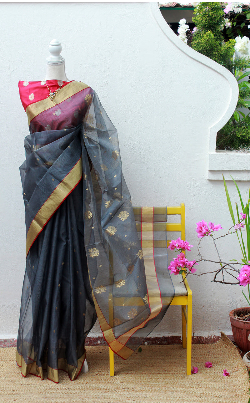 Grey Chanderi Silk Organza Handloom Saree with Red Embossed Pure Silk Blouse Piece