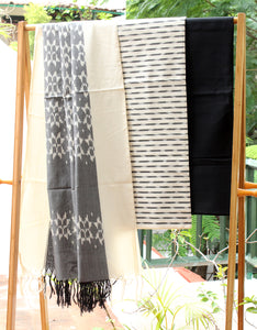 Off-white and Grey Ikkat Handloom Cotton Dress Material