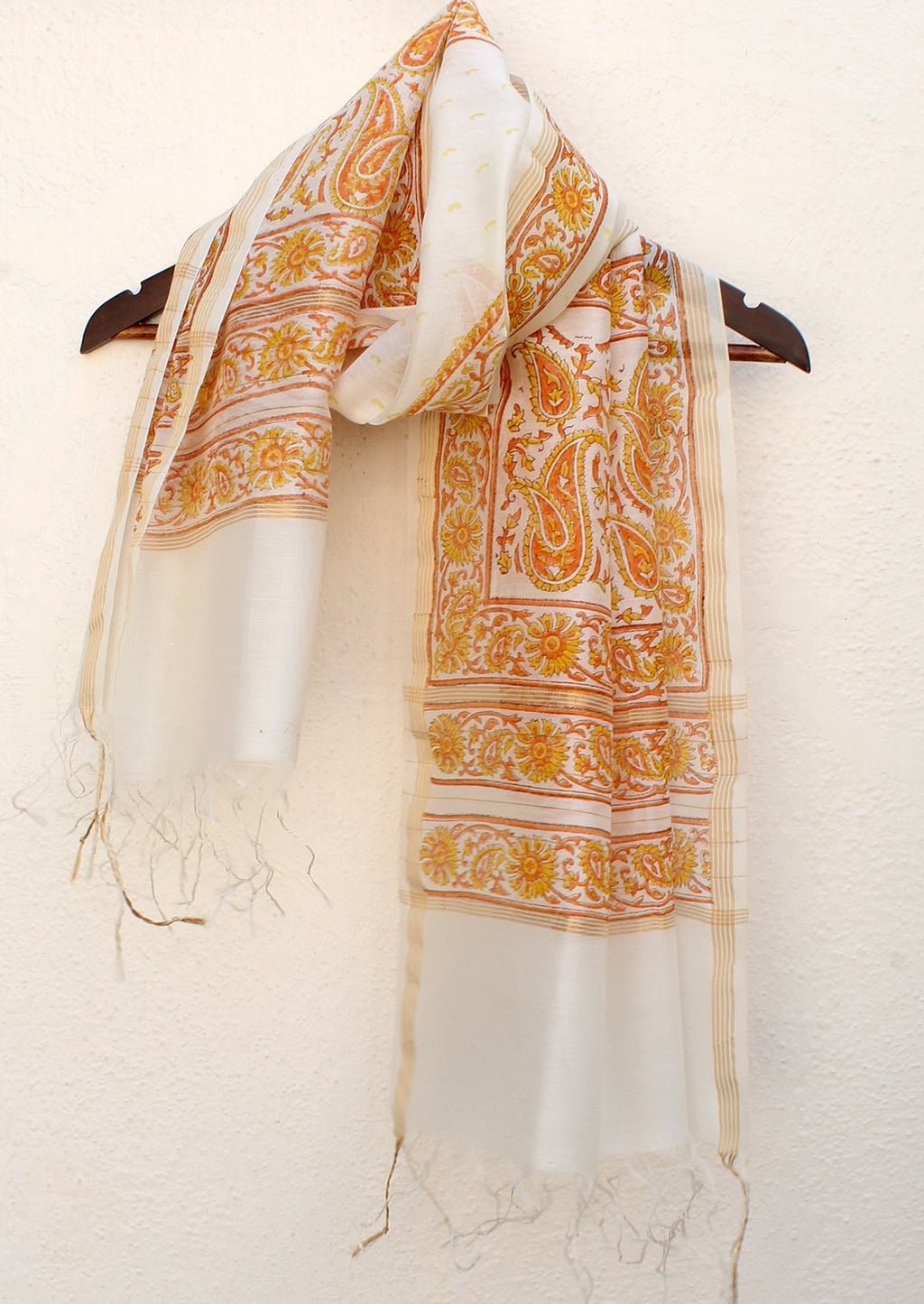 White Chanderi Handloom Hand Block Printed Cotton Silk Stole