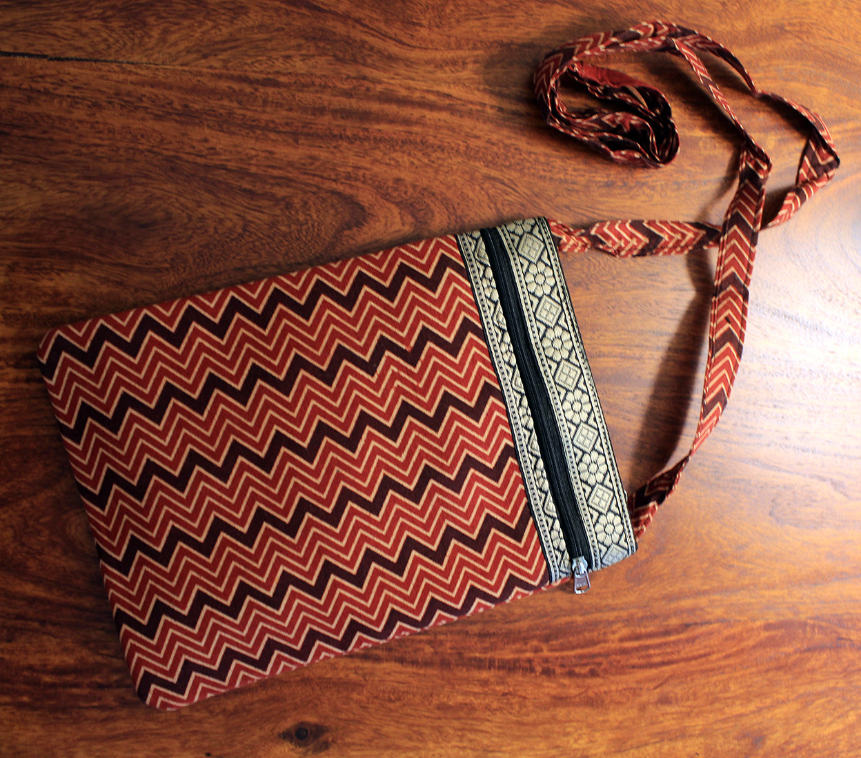 Red and Black Hand Block Printed Cotton Sling Bag