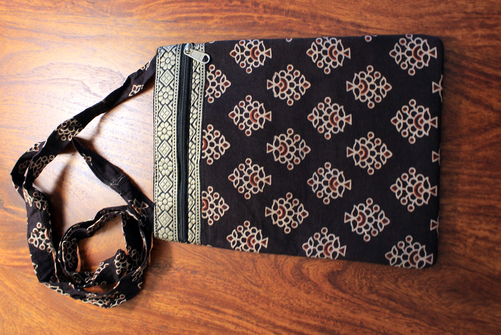 Black Hand Block Printed Cotton Sling Bag