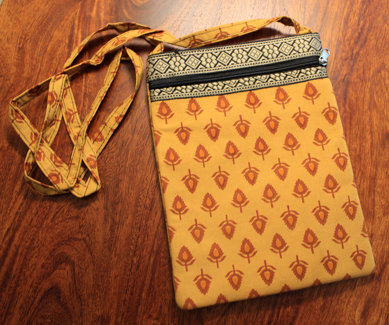 Yellow Hand Block Printed Cotton Sling Bag