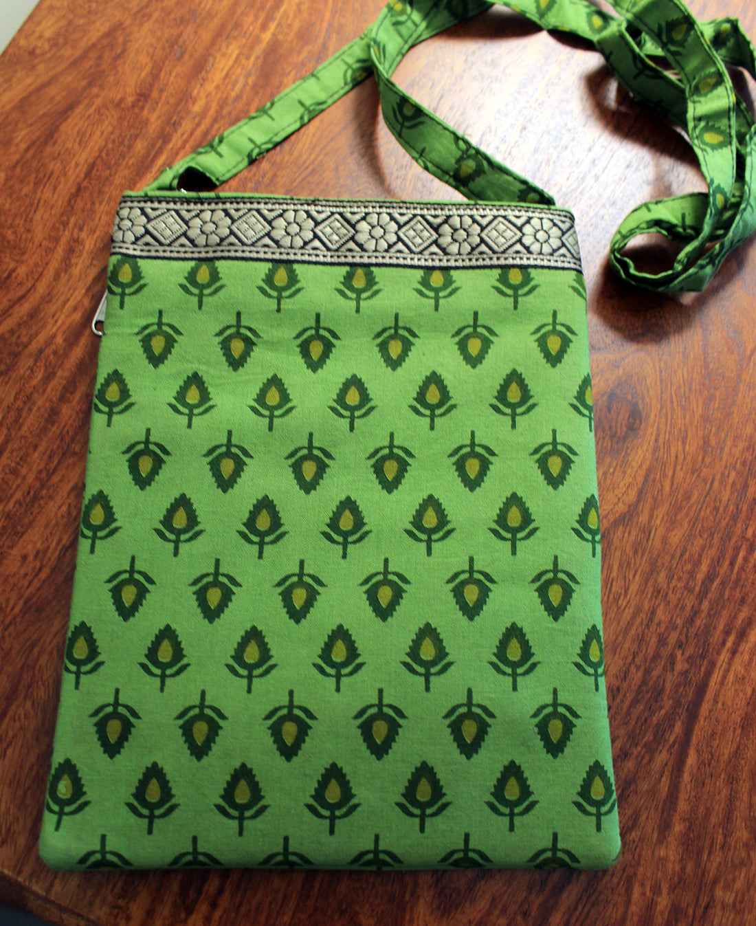 Green Hand Block Printed Cotton Sling Bag
