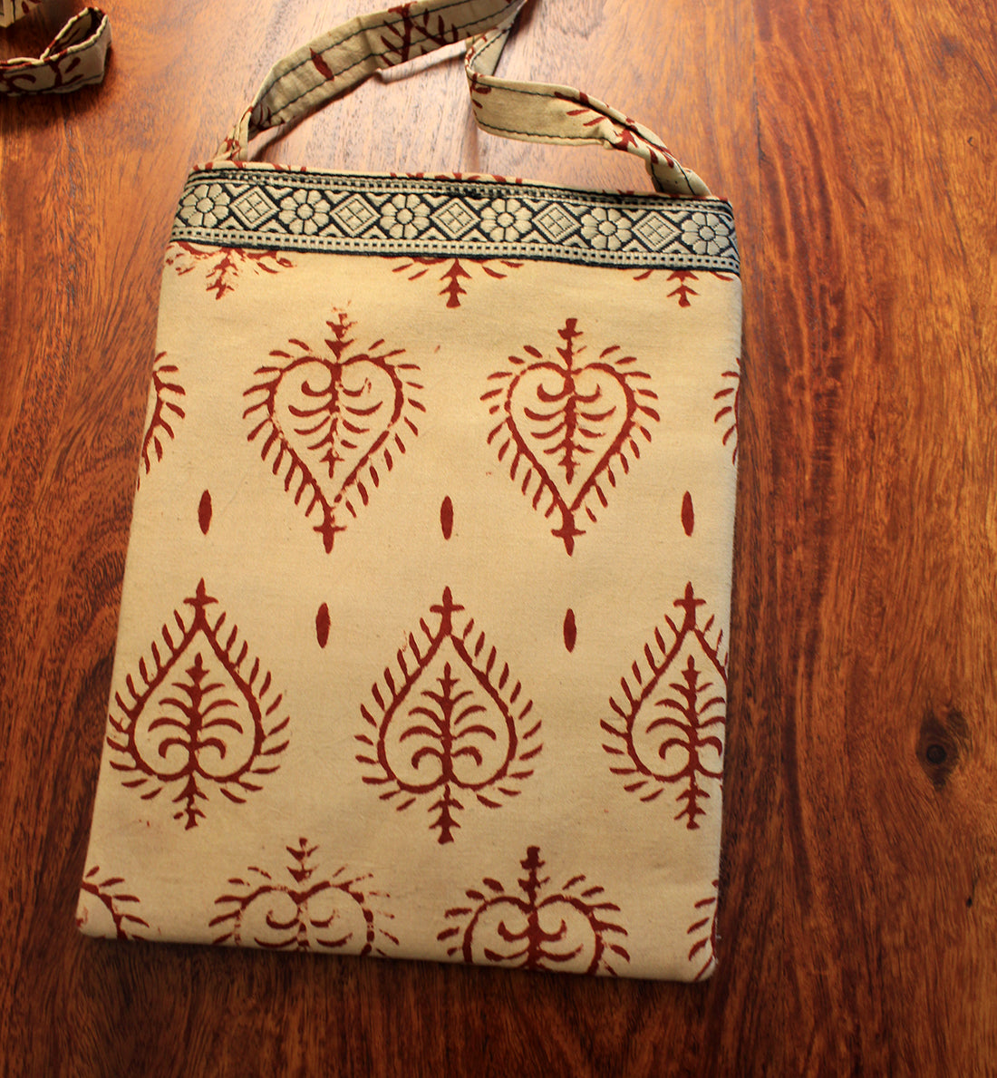 Beige Hand Block Printed Cotton Sling Bag