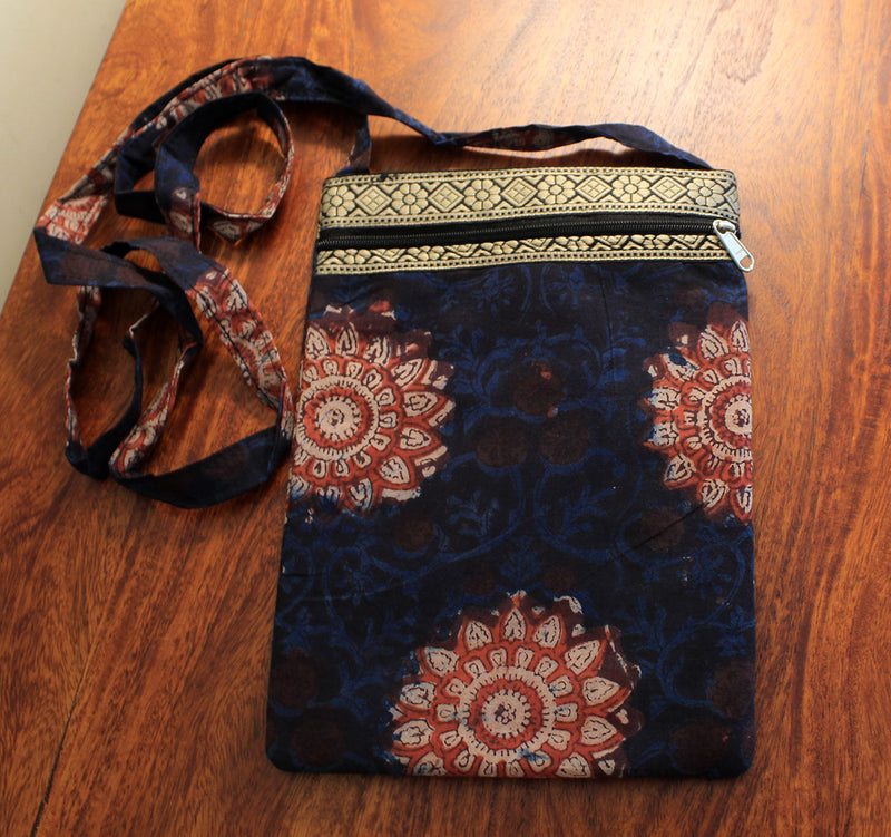 Indigo Hand Block Printed Cotton Sling Bag