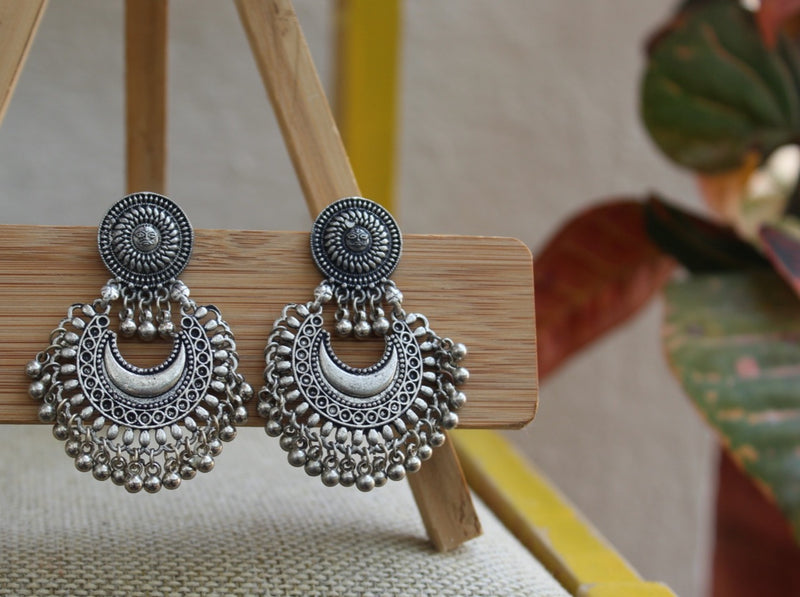 Afghani Tribal German Silver Oxidized Earrings with Sun Design