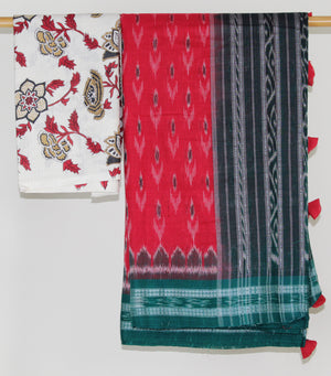 Red and Green Sambalpuri Ikkat Saree with Pure Cotton Handblock Printed Blouse Piece
