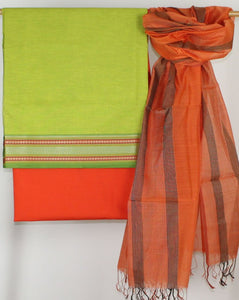 Orange Maheshwari Handloom Dupatta with Green South Cotton Top and Orange Mul Mul Cotton Bottom Material