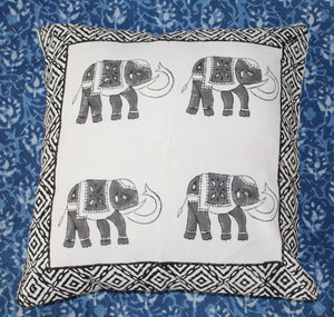 Off-White Hand Block Printed Cushion Cover (16 inches x 16 inches)