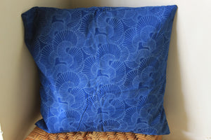 Indigo Hand Block Printed Cushion Cover (16 inches x 16 inches)
