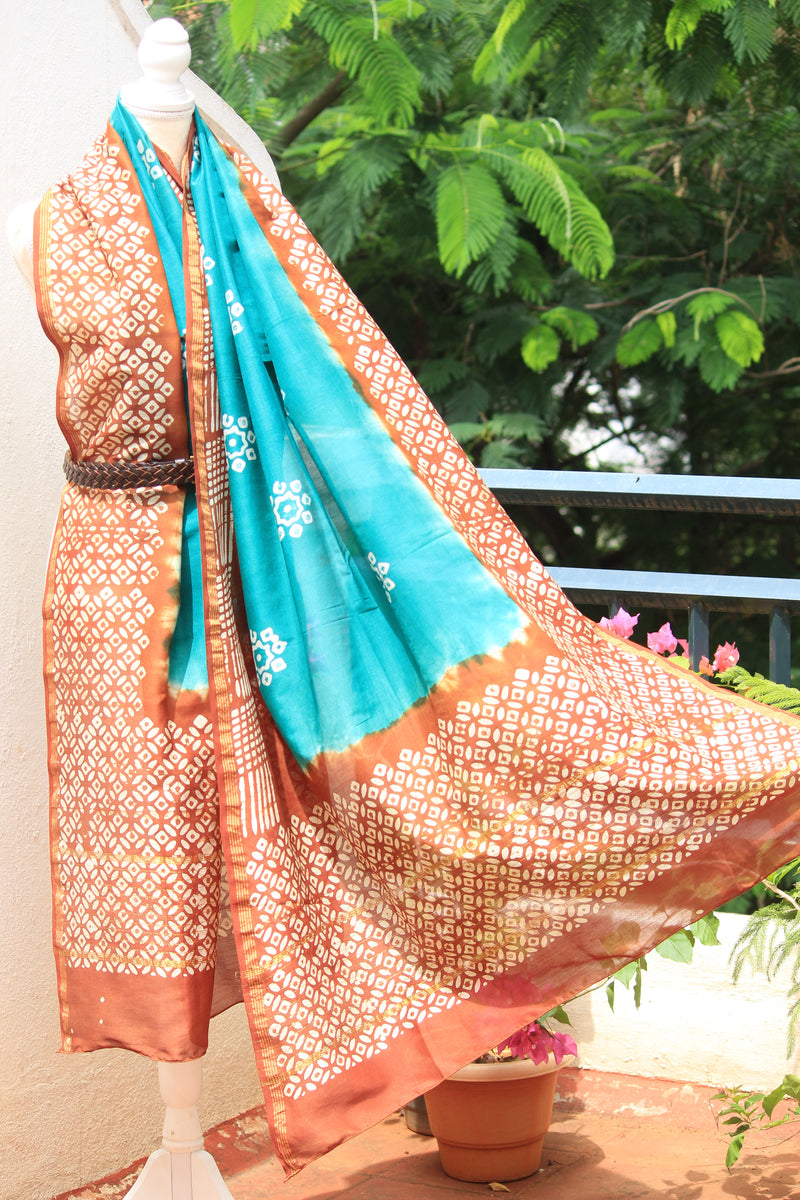 Green and Brown Batik Dyed Chanderi Cotton Silk Handloom Dupatta