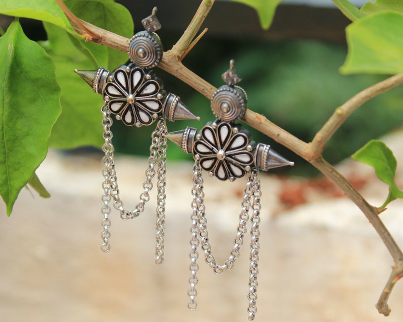 Antique Finish Black and White Ceramic German Silver Earrings