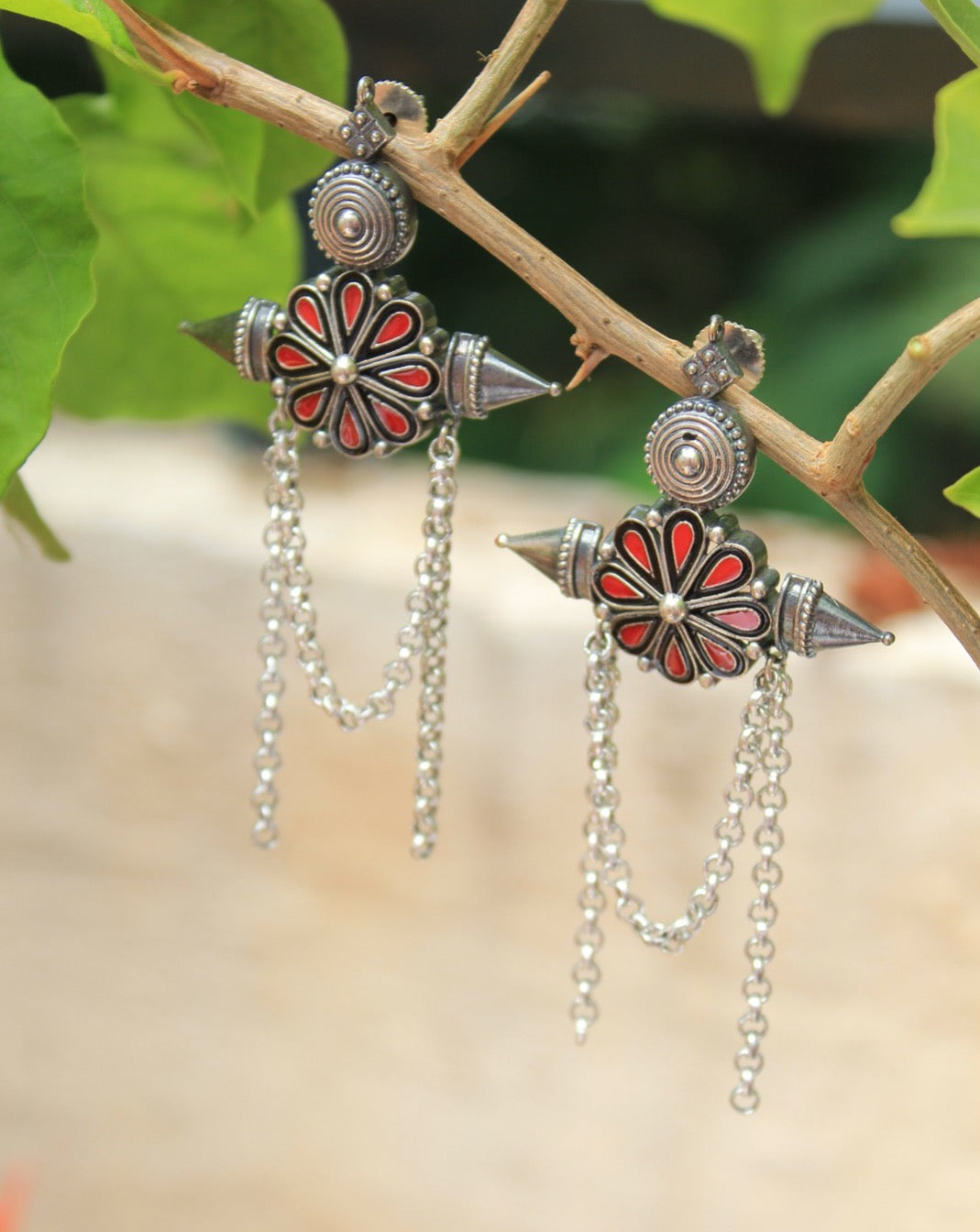 Antique Finish Red and Black Ceramic German Silver Earrings