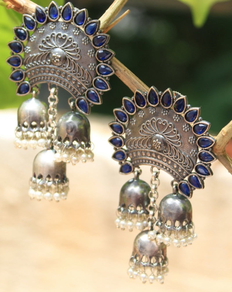 Antique Finish German Silver Earrings with Blue Semi-Precious Stones and Jhumkis with Pearls