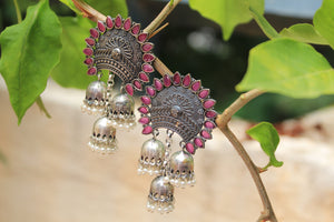 Antique Finish German Silver Earrings with Pink Semi-Precious Stones and Jhumkis with Pearls