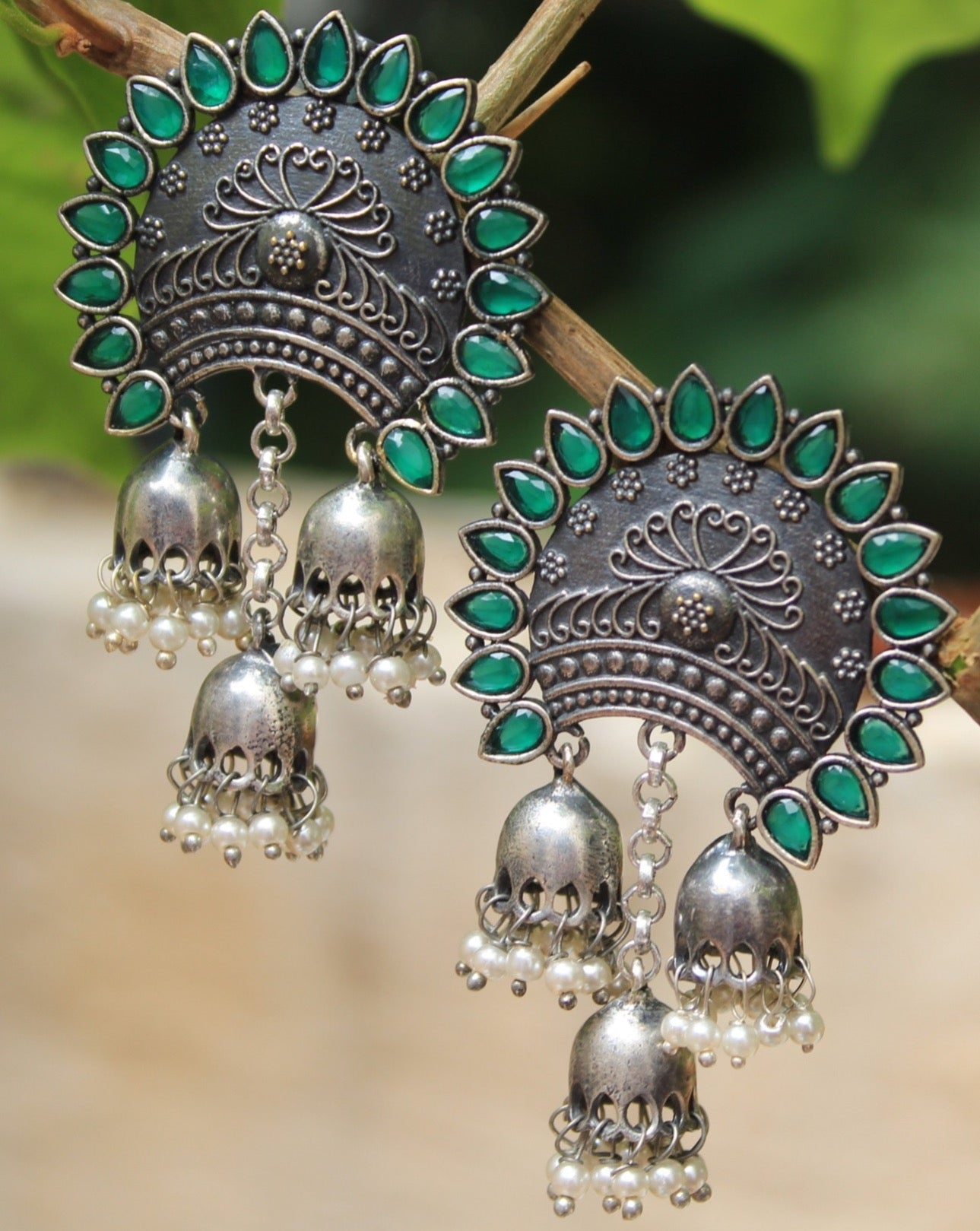 Antique Finish German Silver Earrings with Green Semi-Precious Stones and Jhumkis with Pearls