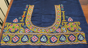 Navy Blue Kutchi Hand Embroidered Mashru Silk Blouse Piece with Mirror Work
