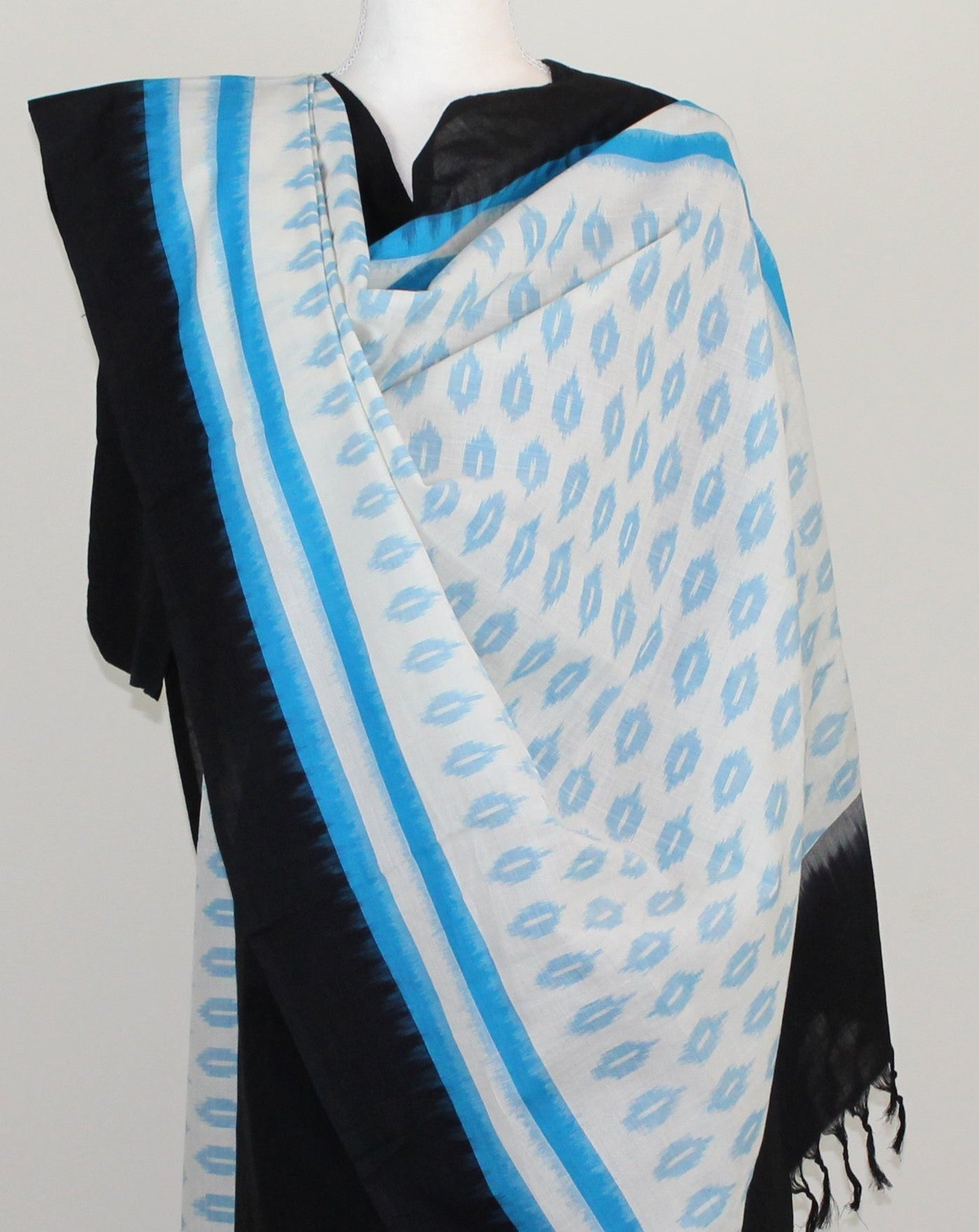 Black, Blue and White Double Ikkat Mercerized Cotton Handloom Dupatta