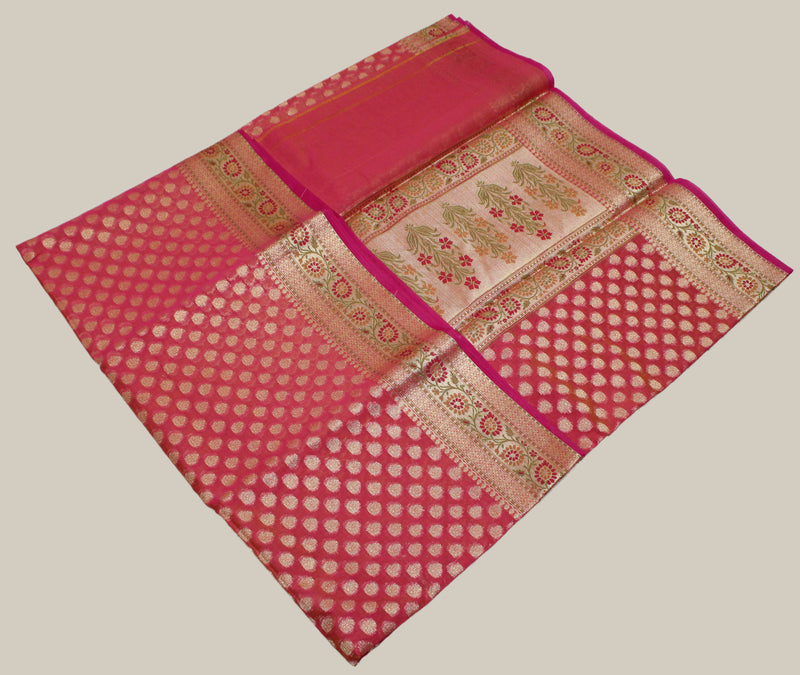 Pink Dual Toned Banarasi Mercerized Cotton Saree with Zari Motifs and Zari and Resham Border