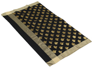 Black Handloom Chanderi Silk Cotton Saree with Black Running Blouse Piece