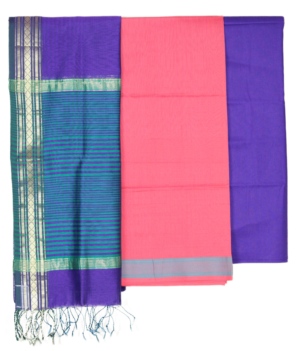Purple and Pink Maheshwari Handloom Silk Cotton Dress Material
