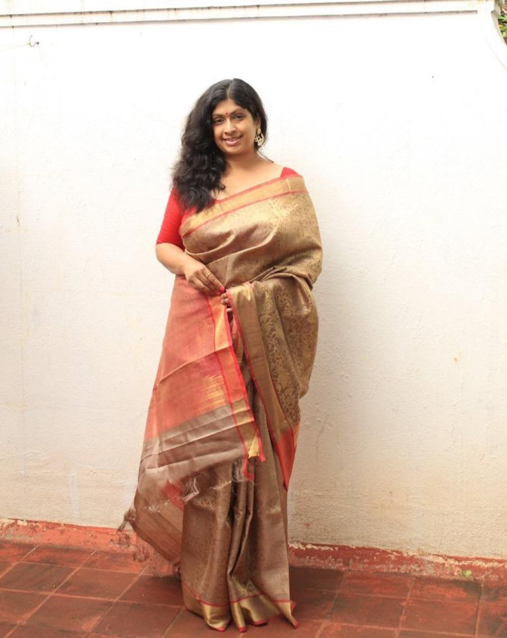 Beige and Red Kosa Silk Handloom Saree with Woven Zari Work All Over