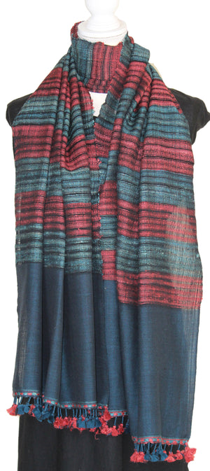 Dark Blue and Maroon Woven Pure Wool Bhujodi Stole with Tassels