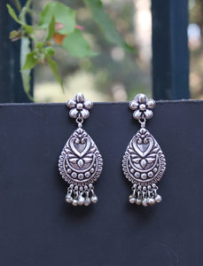 German Silver Earrings with Tribal Design