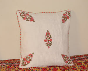 White Pure Cotton Hand Block Printed Quilted Cushion Cover (16 x 16 inches)