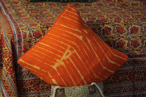 Orange Pure Cotton Tie and Dye Quilted Cushion Cover (16 x 16 inches)