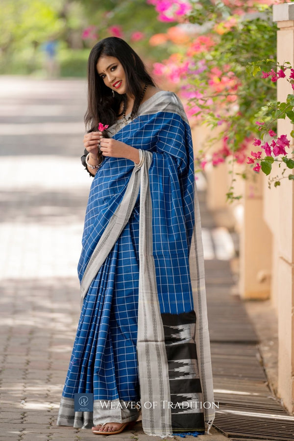 Blue Checks Ilkal Handloom Cotton and Silk Saree