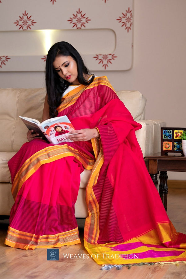 Pink Ilkal Handloom Cotton and Silk Saree