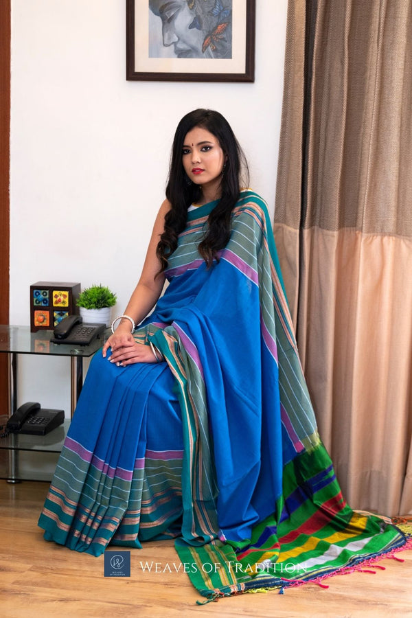 Blue Ilkal Handloom Cotton and Silk Saree
