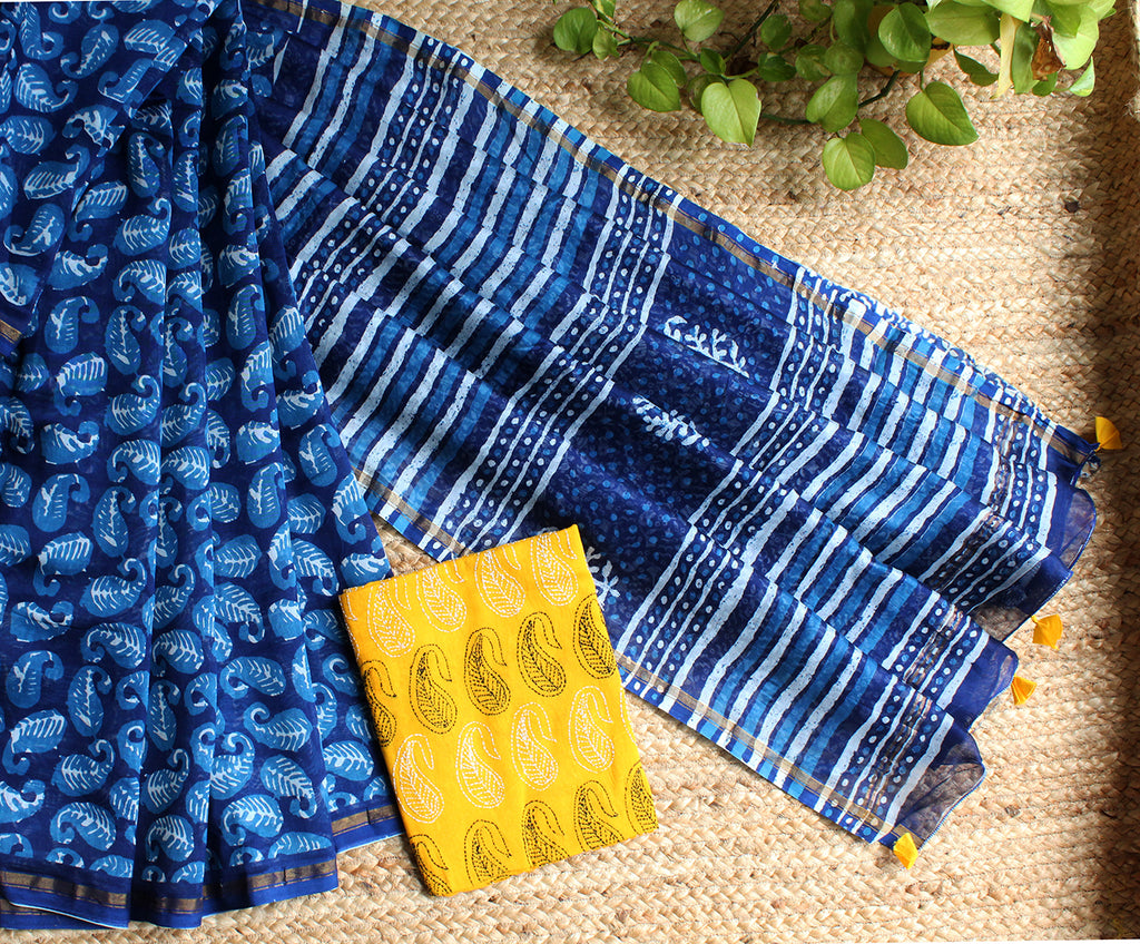 Indigo Naturally Dyed Hand Block Printed Chanderi Cotton Silk Saree with Yellow Cotton Kantha Hand Embroidered Blouse Piece