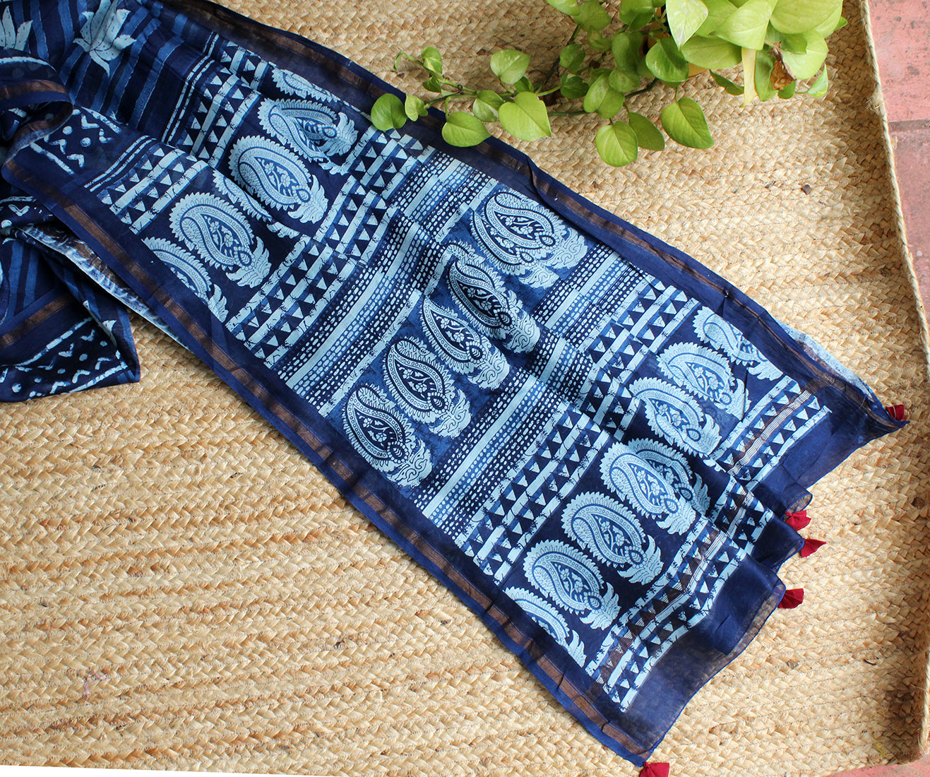 Indigo Naturally Dyed Hand Block Printed Chanderi Cotton Silk Saree with Maroon Cotton Kantha Hand Embroidered Blouse Piece