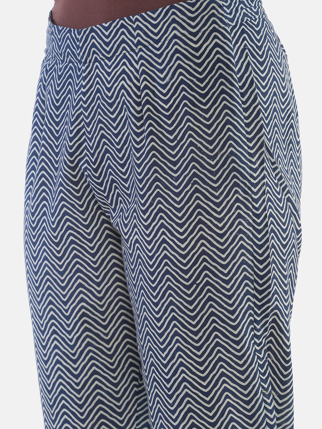 Indigo Naturally Dyed Cotton Chevron Hand Block Printed Cropped Cigarette Pants