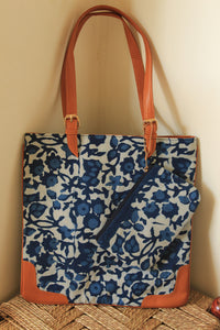Indigo Hand Block Printed Cotton Slim Tote Bag with Zipper Pouch
