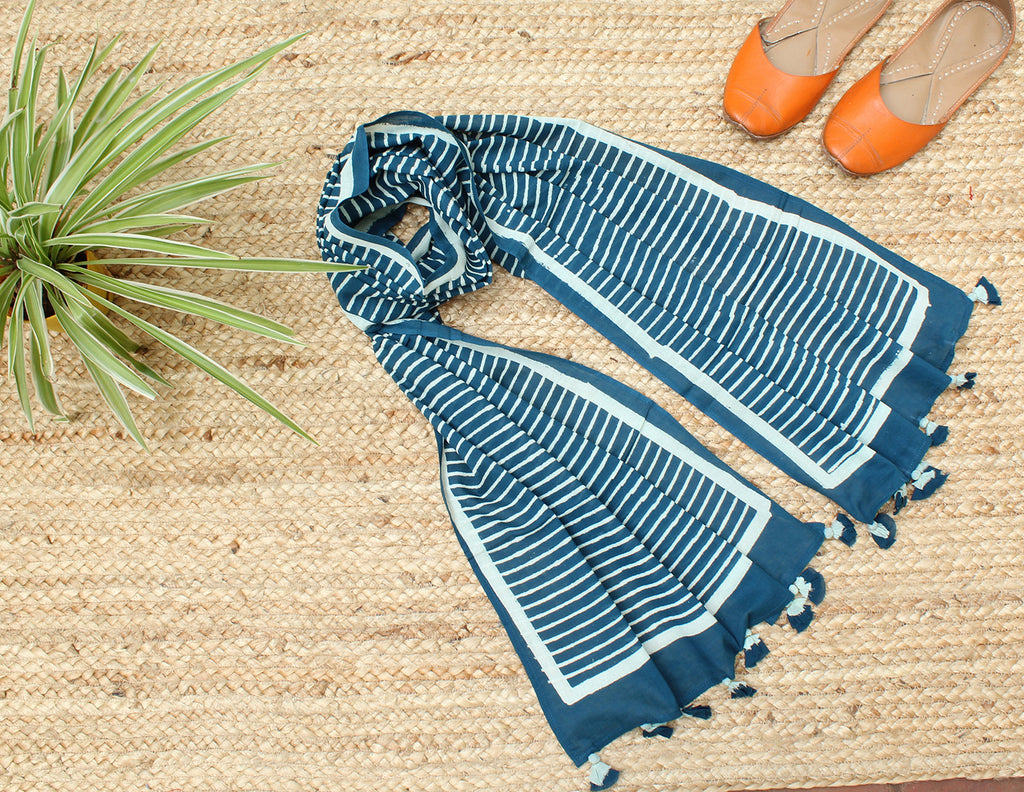 Indigo Naturally Dyed Hand Block Printed Stripes Mul Cotton Stole