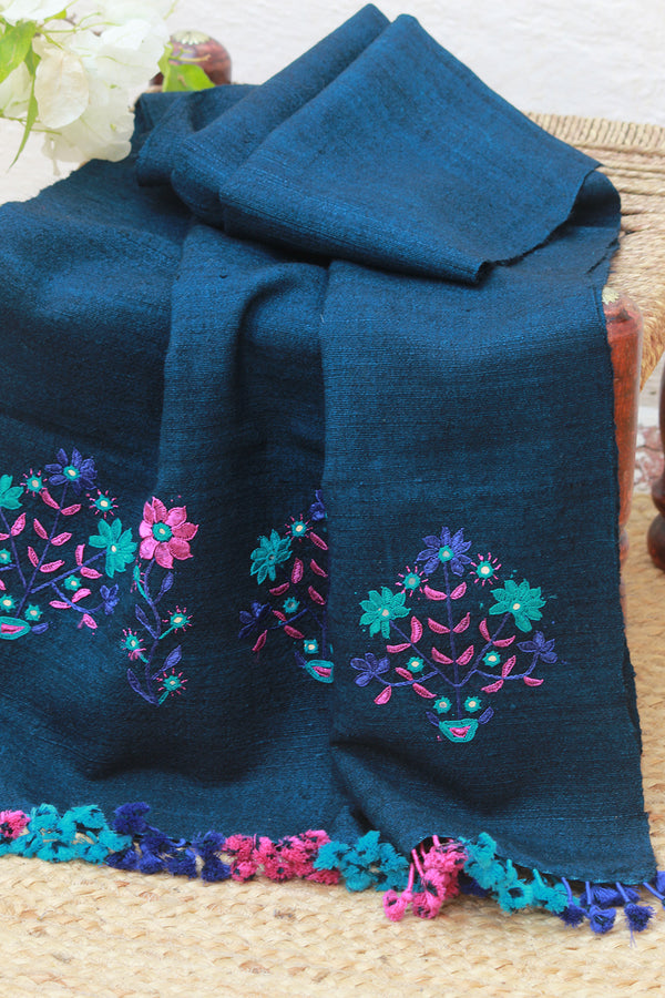 Indigo Wool and Silk Hand Embroidered Stole